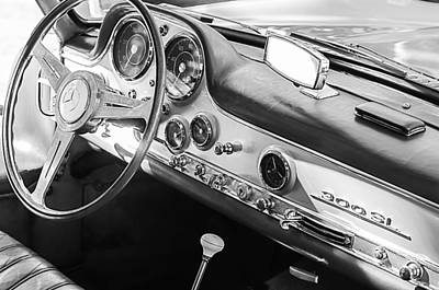 Mercedes Benz 300 Sl Classic Car Photograph - 1957 Mercedes-benz 300 Sl Gullwing Steering Wheel Emblem by Jill Reger