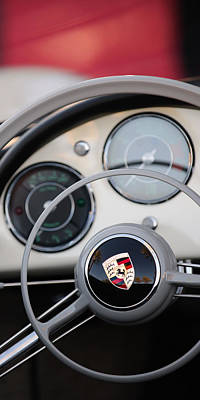 Photograph - 1957 Porsche 356 A Carrera 1500 Gs Speedster Steering Wheel Emblem by Jill Reger