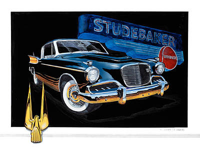 Painting - 1957 Studebaker Golden Hawk by Richard Mordecki