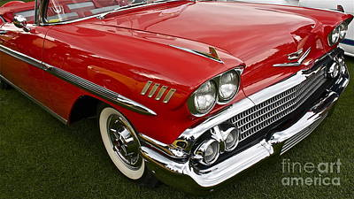 Red Chev Photograph - 1958 Chevy Impala by Linda Bianic