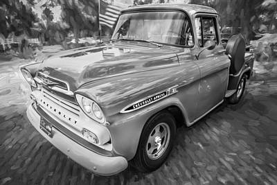 Old Trucks Photograph - 1959 Chevy Pick Up Truck Apache Series Painted Bw  by Rich Franco