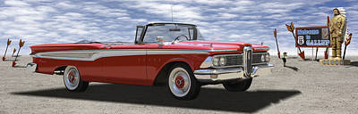 Panoramic Digital Art - 1959 Edsel Corsair by Mike McGlothlen