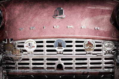 1960 Triumph Tr3 Grille Emblems Art Print by Jill Reger