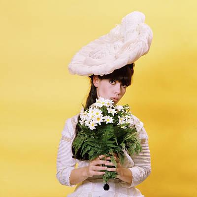 1960s Glamour Woman In White Turn Art Print