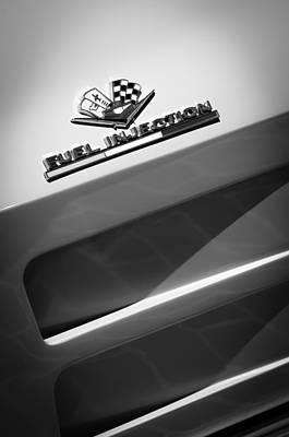 1963 Chevrolet Corvette Sting Ray Split-window Race Car Fuel Injection Emblem Art Print by Jill Reger
