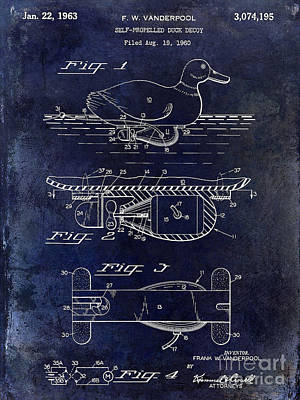 1963 Duck Decoy Patent Drawing Art Print by Jon Neidert