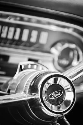 1963 Ford Photograph - 1963 Ford Falcon Futura Convertible Steering Wheel Emblem by Jill Reger