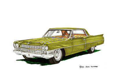 Caddy Painting - 1964 Cadillac Coupe Deville by Jack Pumphrey
