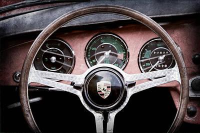 Porsche Logo Photograph - 1964 Porsche C Steering Wheel Emblem by Jill Reger