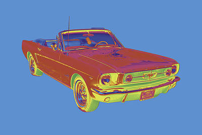 Collectible Sports Art Digital Art - 1965 Ford Mustang Convertible Pop Image by Keith Webber Jr