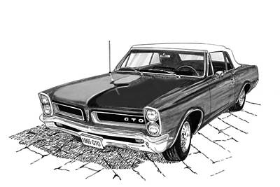 Black And White Painting - 1965 Pontiac G T O Convertible by Jack Pumphrey