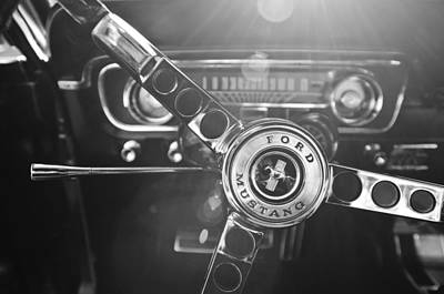 Photograph - 1965 Shelby Prototype Ford Mustang Steering Wheel Emblem by Jill Reger