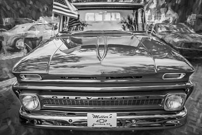 Chevy C10 Photograph - 1966 Chevy C10 Pick Up Truck Painted Bw by Rich Franco
