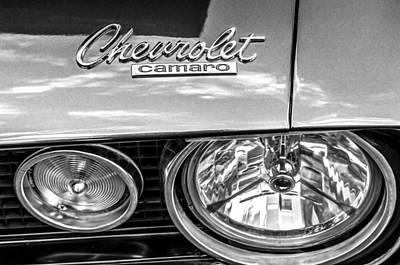 1967 Chevrolet Camaro Ss 350 Headlight - Hood Emblem  Art Print by Jill Reger
