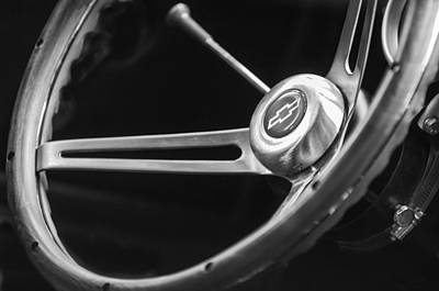 Chevy Ss Wall Art - Photograph - 1967 Chevrolet Camaro Ss 350 Steering Wheel Emblem  by Jill Reger