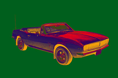 Photograph - 1967 Convertible Camaro Muscle Car Pop Art by Keith Webber Jr