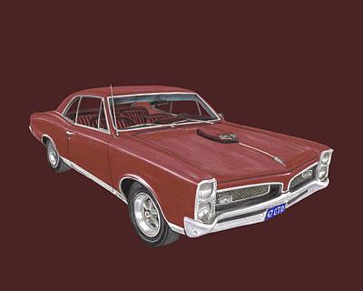 Leman Painting - 1967 G T O Pontiac by Jack Pumphrey