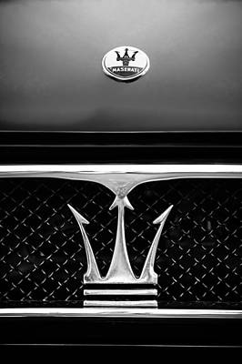 Classic Sports Cars Photograph - 1967 Maserati Ghibli Grille Emblem by Jill Reger