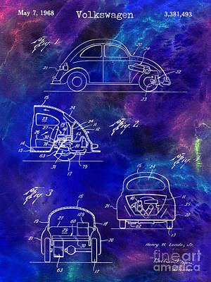 Psychedelic Photograph - 1968 Vw Patent Drawing Blue by Jon Neidert