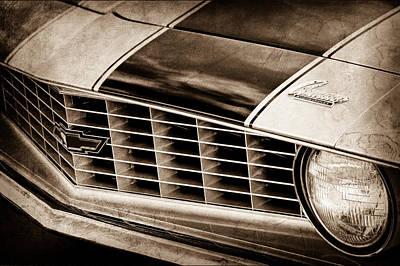 1969 Photograph - 1969 Chevrolet Camaro Z 28 Grille Emblem by Jill Reger