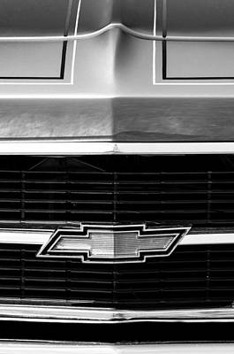 White Chevy Photograph - 1969 Chevrolet Grille Emblem by Jill Reger