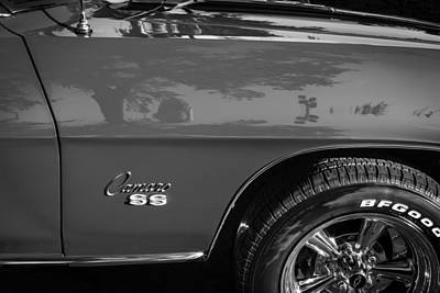 Red Camaro Photograph - 1969 Chevy Camaro Ss 350 Painted Bw  by Rich Franco