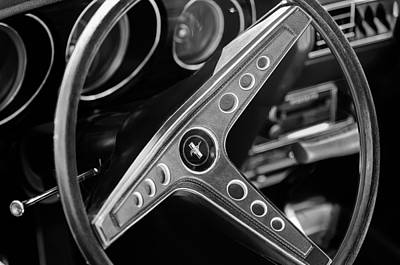 1969 Photograph - 1969 Ford Mustang Mach 1 Steering Wheel Emblem by Jill Reger
