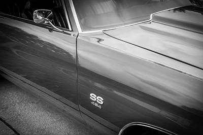 V8 Chevelle Photograph - 1970 Chevy Chevelle 454 Ss Painted Bw   by Rich Franco
