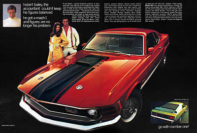 1970 Ford Mustang Mach 1 Print by Digital Repro Depot