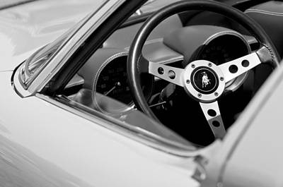 Photograph - 1970 Lamborghini Miura S Steering Wheel Emblem by Jill Reger