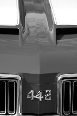 Photograph - 1970 Oldsmobile 442 Hood Emblem by Jill Reger