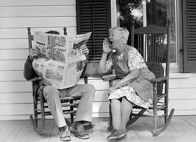 Loud Photograph - 1970s Elderly Couple In Rocking Chairs by Vintage Images