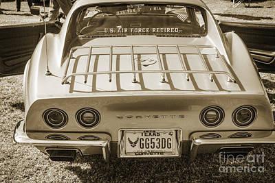 Photograph - 1972 Chevrolet Corvette Stingray Back Side Sepia 3032.01 by M K Miller