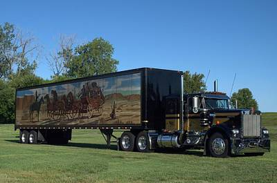 Photograph - Smokey And The Bandit Tribute 1973 Kenworth W900 Black And Gold Semi Truck by Tim McCullough