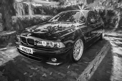 Accelerate Photograph - 1999 Bmw 528i Sports Car Painted Bw     by Rich Franco