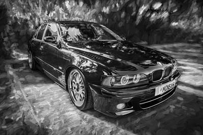 Bmw Racing Car Photograph - 1999 Bmw 528i Sports Car Painted Bw   by Rich Franco