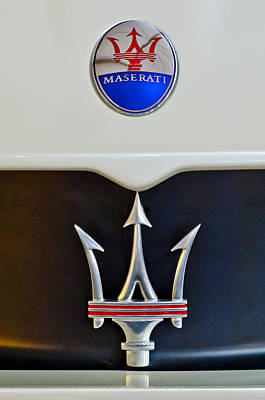 Supercar Photograph - 2005 Maserati Mc12 Hood Emblem by Jill Reger