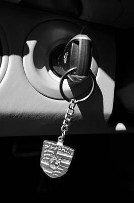 2008 Porsche Key Ring Black And White Art Print by Jill Reger