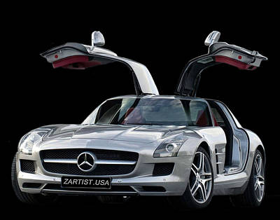 2010 Mercedes Benz Sls Gull-wing Art Print by Jack Pumphrey