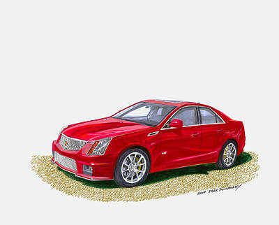 Model Drawing - 2013 Cadillac C T S  V by Jack Pumphrey