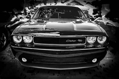 2013 Dodge Challenger Bw  Art Print by Rich Franco