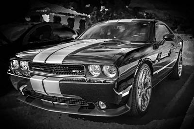 2013 Dodge Challenger Srt Bw Art Print by Rich Franco