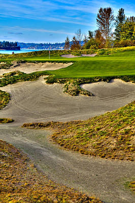 Water Droplets Sharon Johnstone - #3 at Chambers Bay Golf Course - Location of the 2015 U.S. Open Championship by David Patterson