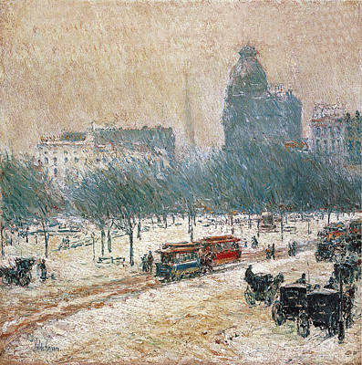 Park Scene Photograph - Winter In Union Square by Childe Hassam