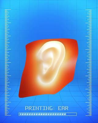 3d Printing Of A Human Ear Art Print by Alfred Pasieka