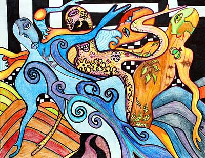 Contemporary Abstract Drawing - 4 Seasons by Laura Barbosa