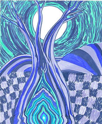 Checkered Pattern Drawing - 4am by Nicole Scott