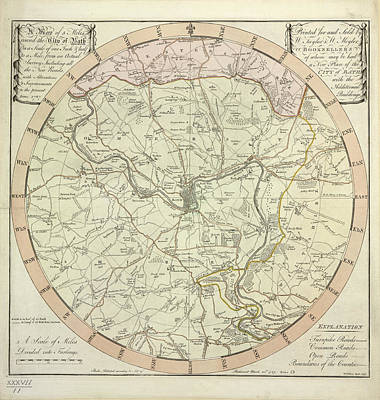 City Map Photograph - 5 Miles Round The City Of Bath by British Library