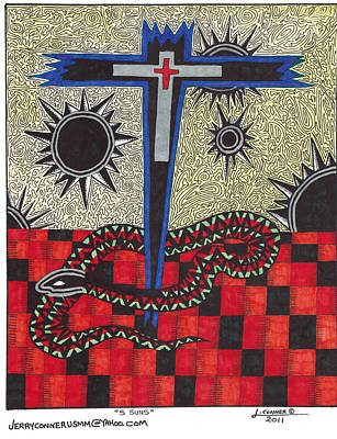 Cross Drawing - Cross by Jerry Conner