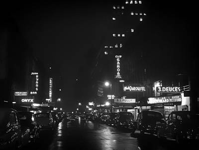 1940s Storefront Photograph - 52nd Street Nyc - 1948 by Mountain Dreams